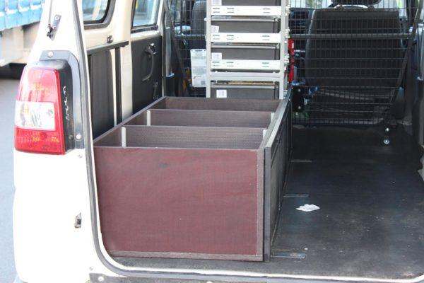 Custom ply box in rear of small van