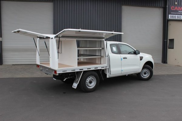 Gullwing 3-door body fitted to Uteworx flat deck with internal divers and shelves 1