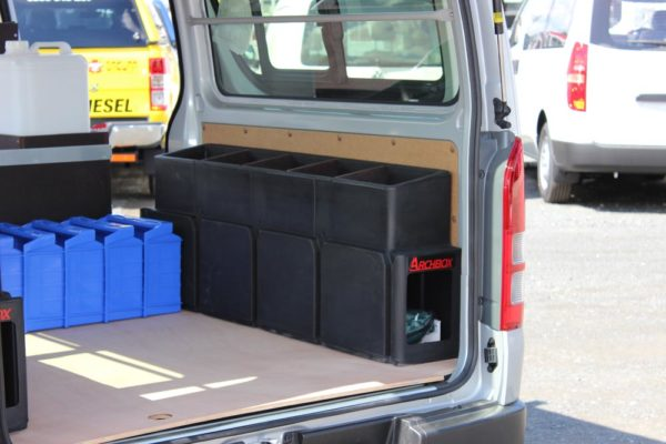 Rolaworx double drawer fitted in side door of van with Archboxes in rear 2