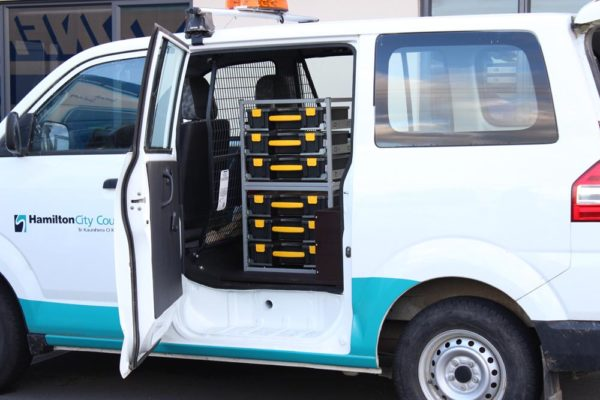 Stack-a-box units fitted in side door of Small van