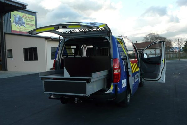 Accident response vehicle - upstand holds body board 2