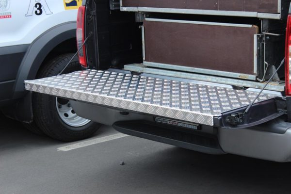 Chequerplate tailgate fitted to Farriers vehicle