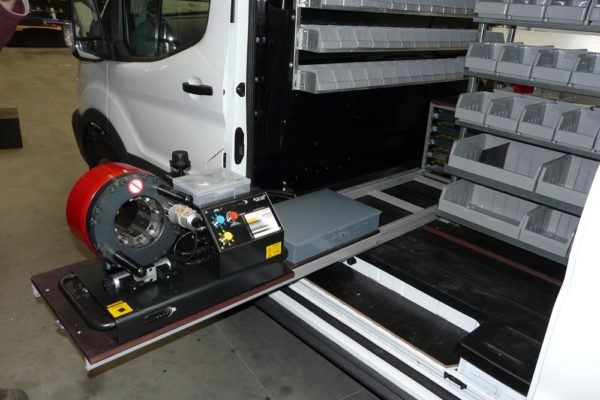 Hydraulic service van 3 - press fitted to Roll-a-table
