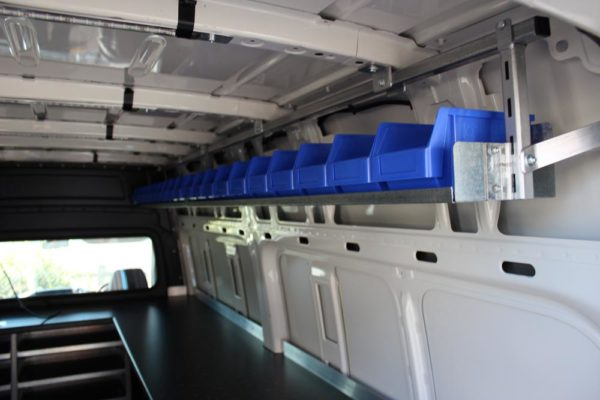 Roof hung shelving in Van to contain fittings