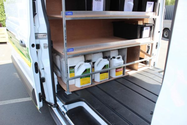 Ford Cargo parts van - centre of van - bar for holding 20L oils in 2