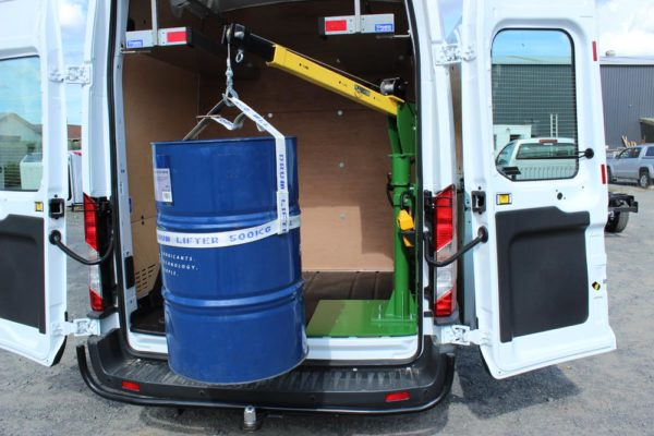 Ford Cargo parts van fitout - crane in rear for lifting drums - fits 4x drums in rear of van 1