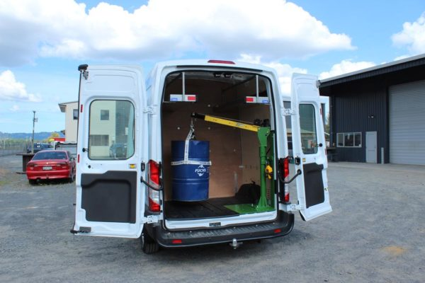 Ford Cargo parts van fitout - crane in rear for lifting drums - fits 4x drums in rear of van 2