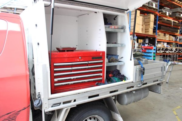 Gullwing 2 door box body fitted to Ute worx flat deck with Mechanics toolbox compartment on LHS 2