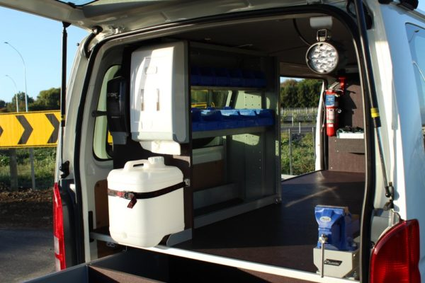 Mechanics van - Hygiene kit with and shelving unit to contain Oil drims in bottom compartment
