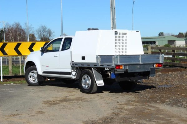 Pair of Gullwing tool boxes with flip up roof and lift up gate at rear 1