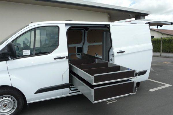 Rolaworx double drawer in side door of van