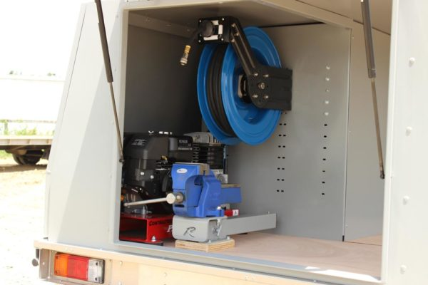 Split compressor system, retractable reel and Rolaworx Slide-a-vice