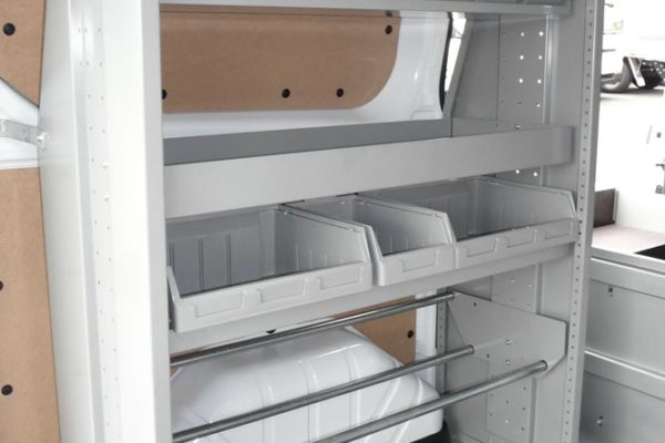 Vorta shelving unit in van with cable drum rack