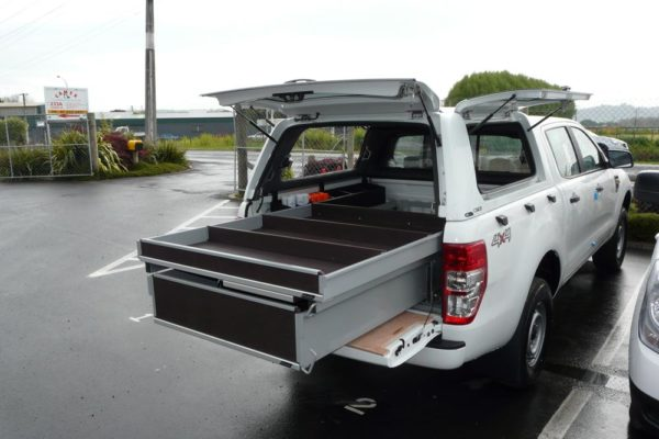 Rolaworx double drawer unit and Archbox in ute with Gullwing canopy and prescription table 1