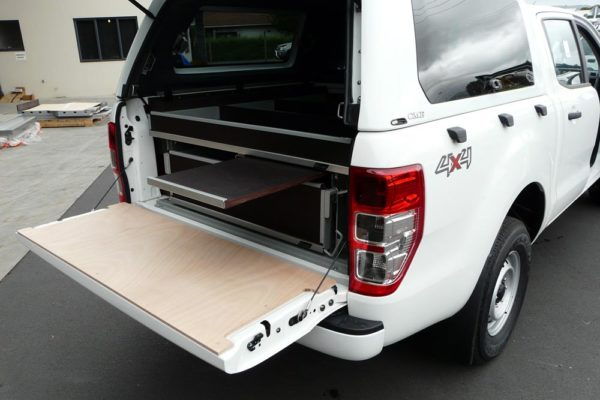 Rolaworx double drawer unit and Archbox in ute with Gullwing canopy and prescription table 2