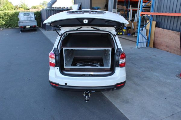 SUV with aluminium drawers - drawers removed for spare wheel access 1