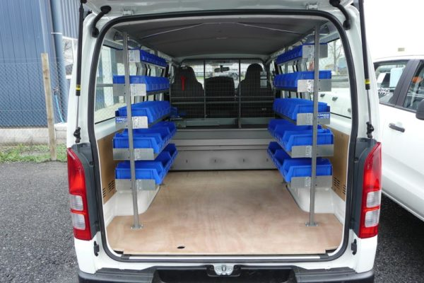 5 Level shelving kit both sides of the van- would look similar to this